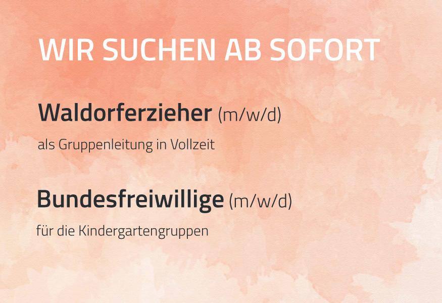 Stellenanzeige Waldorfkinderhaus Pasing. Gesucht werden Waldorferzieher (m/w/d), Bundesfreiwillige (m/w/d)
